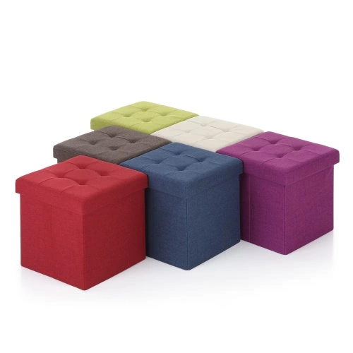 Ikayaa Modern Linen Fabric Foldable Storage Ottoman Cube Foot Rest Storage Stool Box Pouffe Padded Seat Instant Coffee Table Sales Online Black Red Tomtop Storage Cube Ottoman Storage Ottoman Cube Ottoman