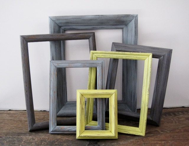 Gray And Yellow Frame Set Of 6 Open Empty Rustic Wall