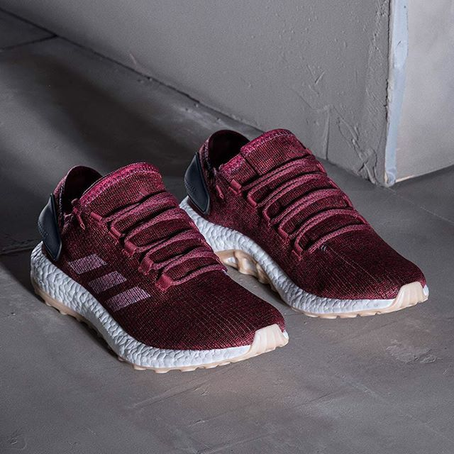 timeless design fba5c c9217 Burgundy knit uppers and gum soles combine on the upcoming adidas Pure Boost.  For a closer look, tap the link in our bio.  sneakers  sneakeraddict   reebok   ...