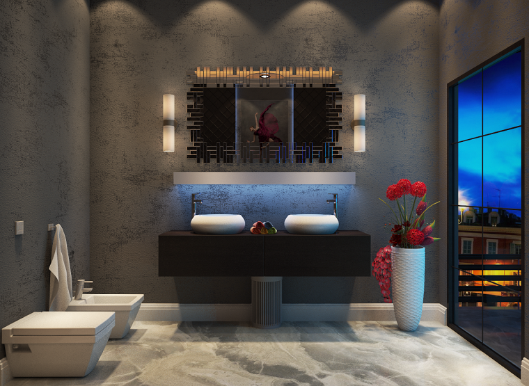 Rivestimenti bagni esempi con piastrelle effetto marmo lavabo da