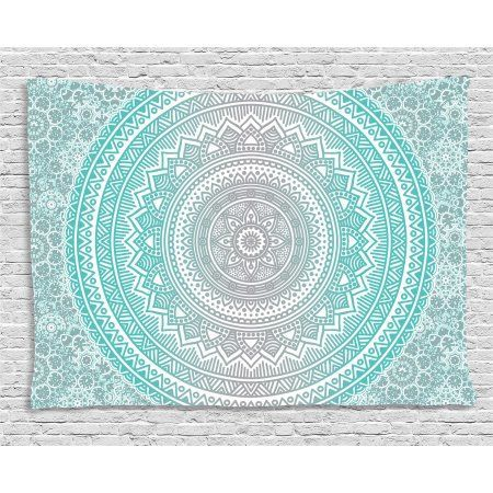 Room Ideas · Grey And Aqua Tapestry, Ombre Traditional Universe Symbol With  Tribal Geometric Mandala Zen Artwork,
