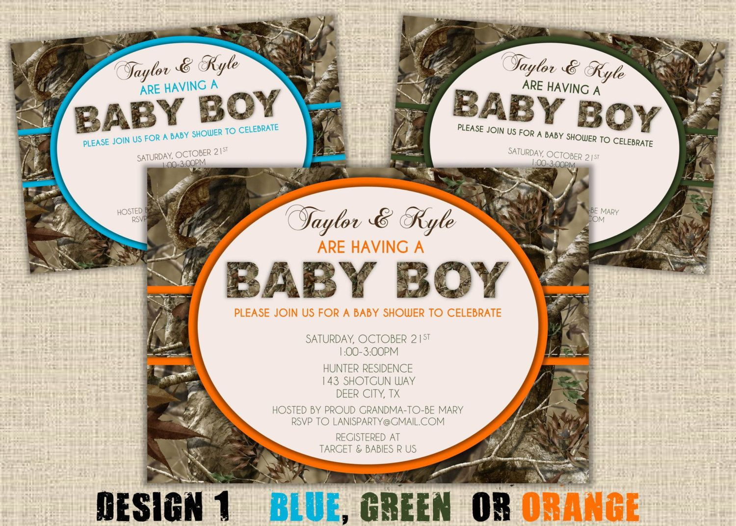 Camo Baby Shower Invitation - Hunting Camouflage Boy Redneck Invites ...