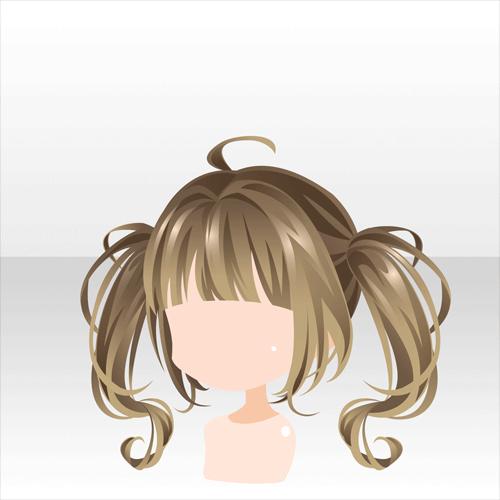 ヘアスタイル 暗闇に現る悪魔のツインテールイエロー アニメの毛 ファンタジーヘア ヘアスタイルのスケッチ