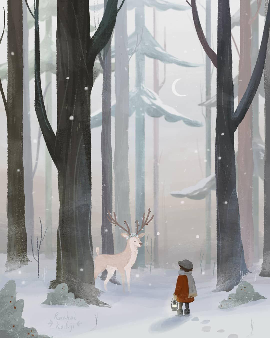 Winter deer reindeer illustration forest forest in snow christmas illus  Winter deer reindeer illustration forest forest in snow christmas illus
