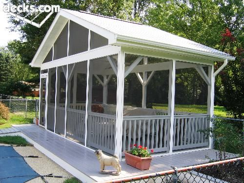 Free Standing Screen Porch At Pools Edge Screened Porch Designs Screen House Screen Porch Kits