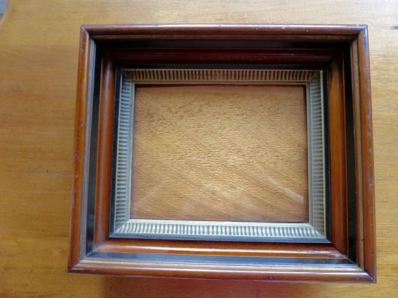 Antique Victorian Frame Striped Gilt Accent Deep Walnut Wood 8 Etsy Victorian Frame Frame Antiques
