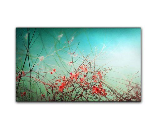 120x70cm Flowers im Vintage Style türkis rot braun Leinwandbild