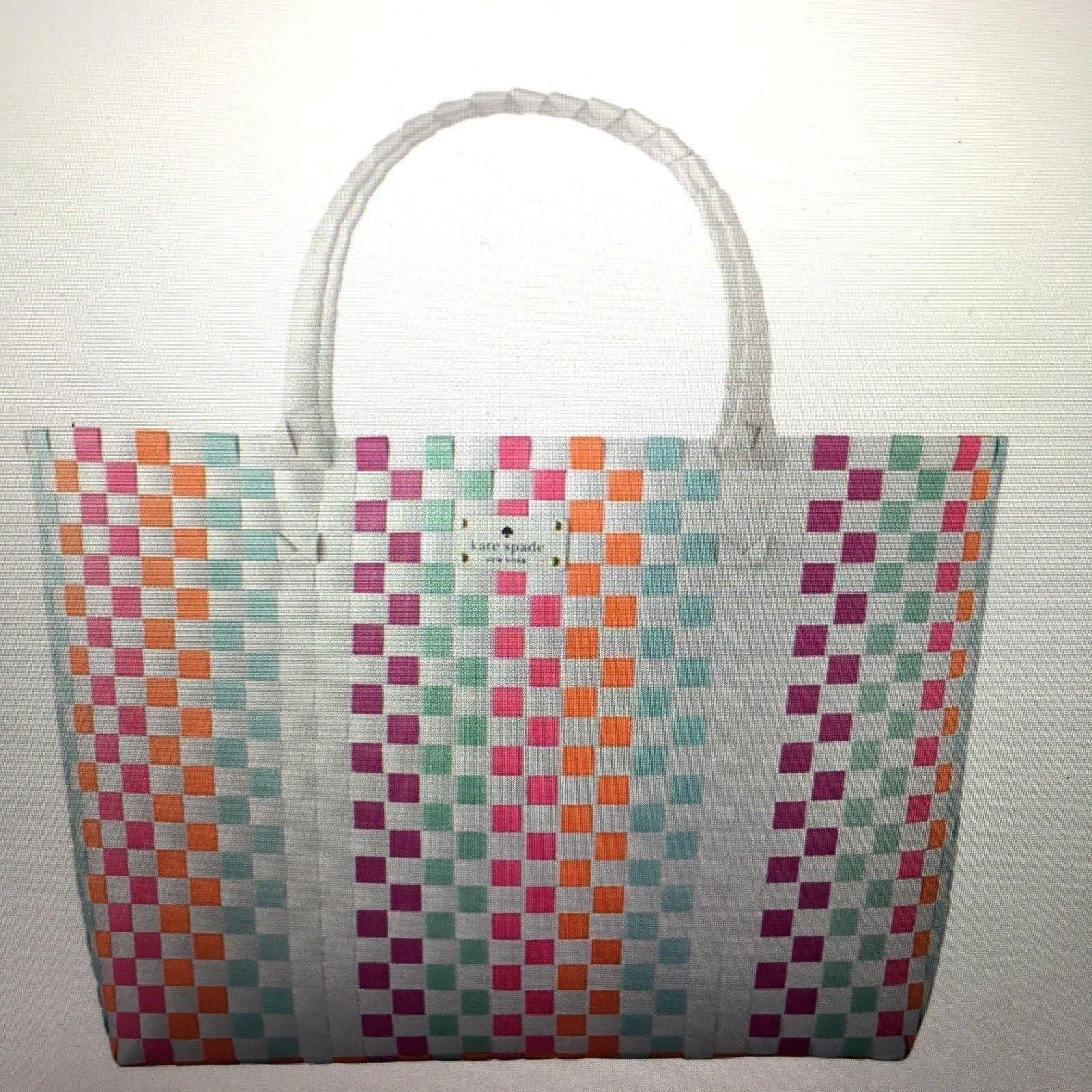 Kate Spade New York Large Multi Color Rainbow Nwt Woven Vinyl Tote Bag Beach