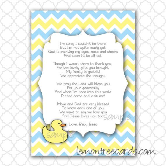 Baby Shower Money Tree Poem  Duck Baby Shower Thank You Note With