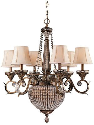 Roosevelt Gilt Iron 6 Arm Chandelier With Crystal Bead Accents