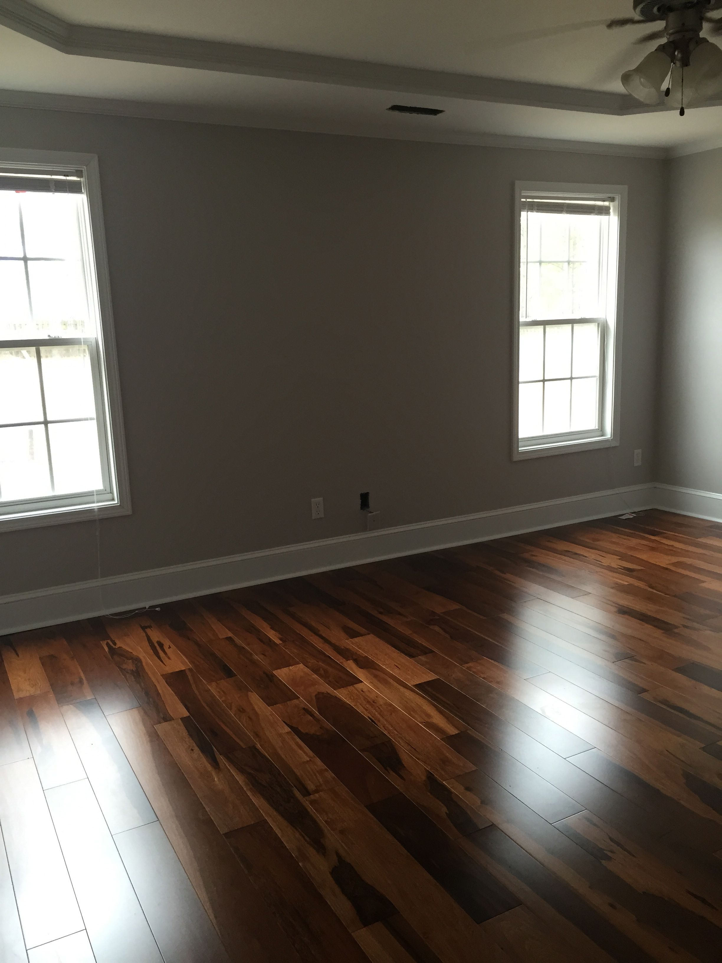 Dark Hardwood Floors Brazilian Walnut Chocolate Stain Grey Paint Color Silver Spoon Olympic Satin