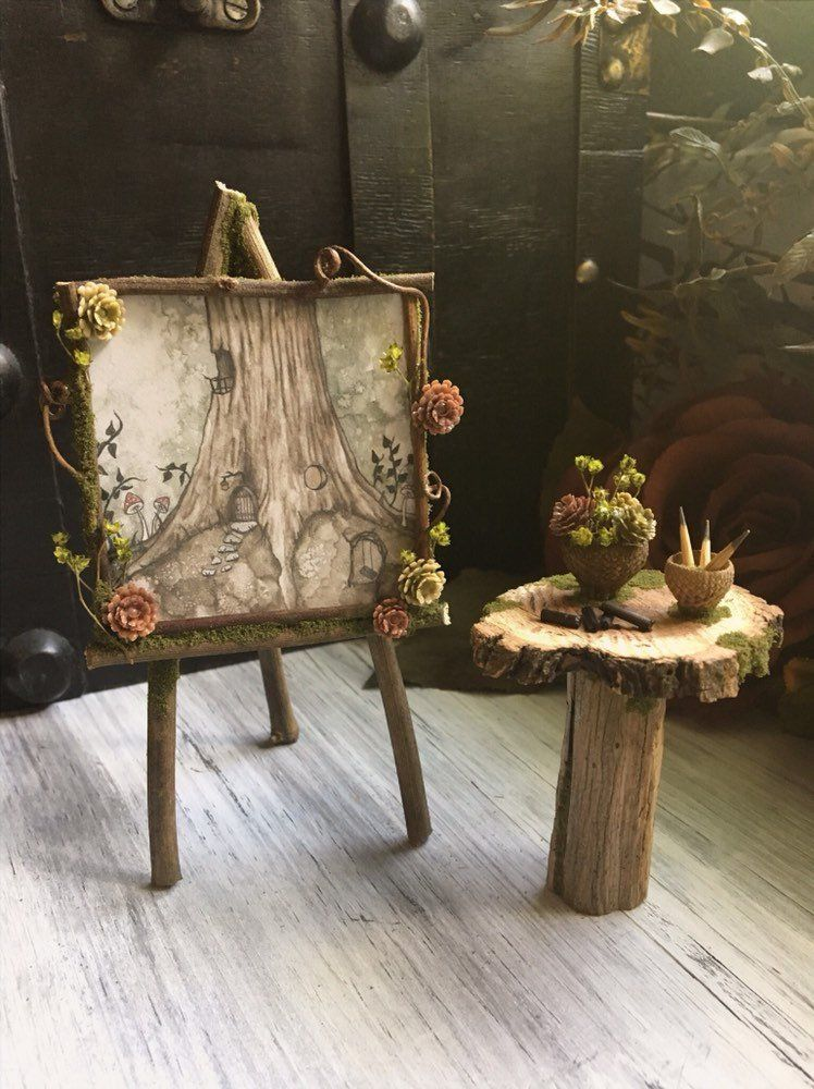 Faery Artist Drawing Set Miniature Fairy Artist Fairy Furniture Fairy Art Easel Handmade By Thefaeryforest Fairy Garden Furniture Fairy Furniture Fairy Garden Diy