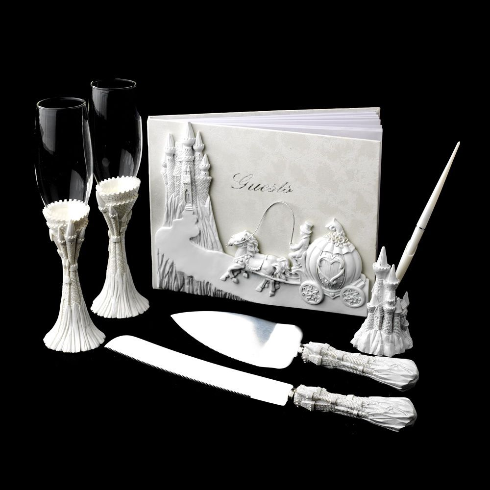 White Cinderella Guest Book Pen Flutes Cake Server Set For Your Fairytale Quinceanera