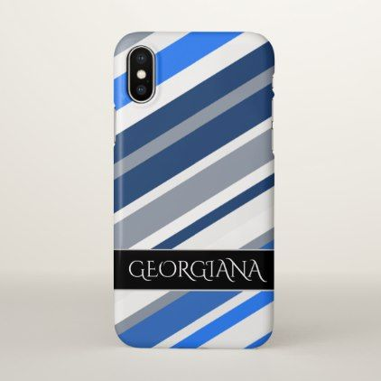 Blue/White/Gray Lines/Stripes Pattern; Custom Name iPhone X Case - patterns pattern special unique design gift idea diy