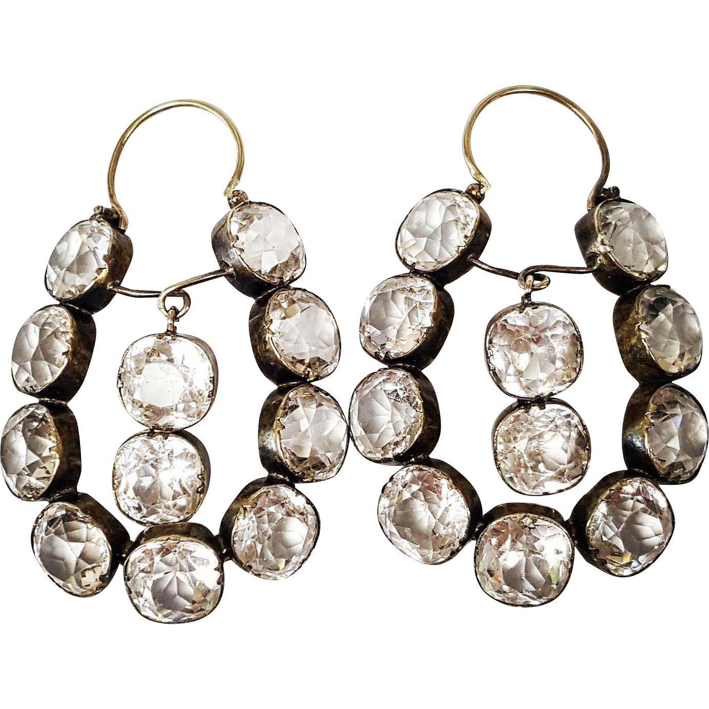 A Rare Gem to find are these truly One of a Kind Georgian Style 14 Karat Yellow Gold Earrings set with Cushion cut Paste, Circa 1830. A french King