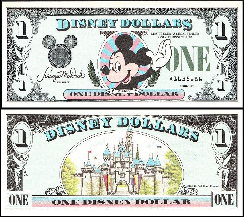 Disney Dollar (Disney World) $1, D-A Series, 1990, R-018