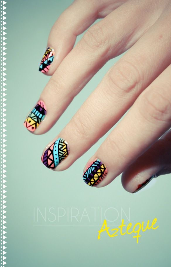 How to: aztec nails; This website has TONS of beautiful design/tutorials