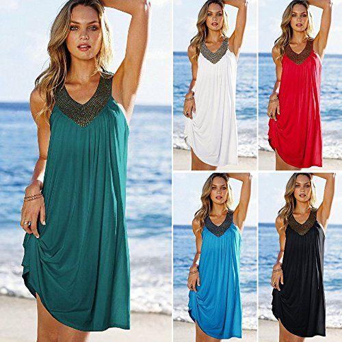 90708917d9 NFASHIONSO Women's White Beaded V-Neck Sleeveless Cover Up/Beach Dress,  Black at Amazon Women's Clothing store: