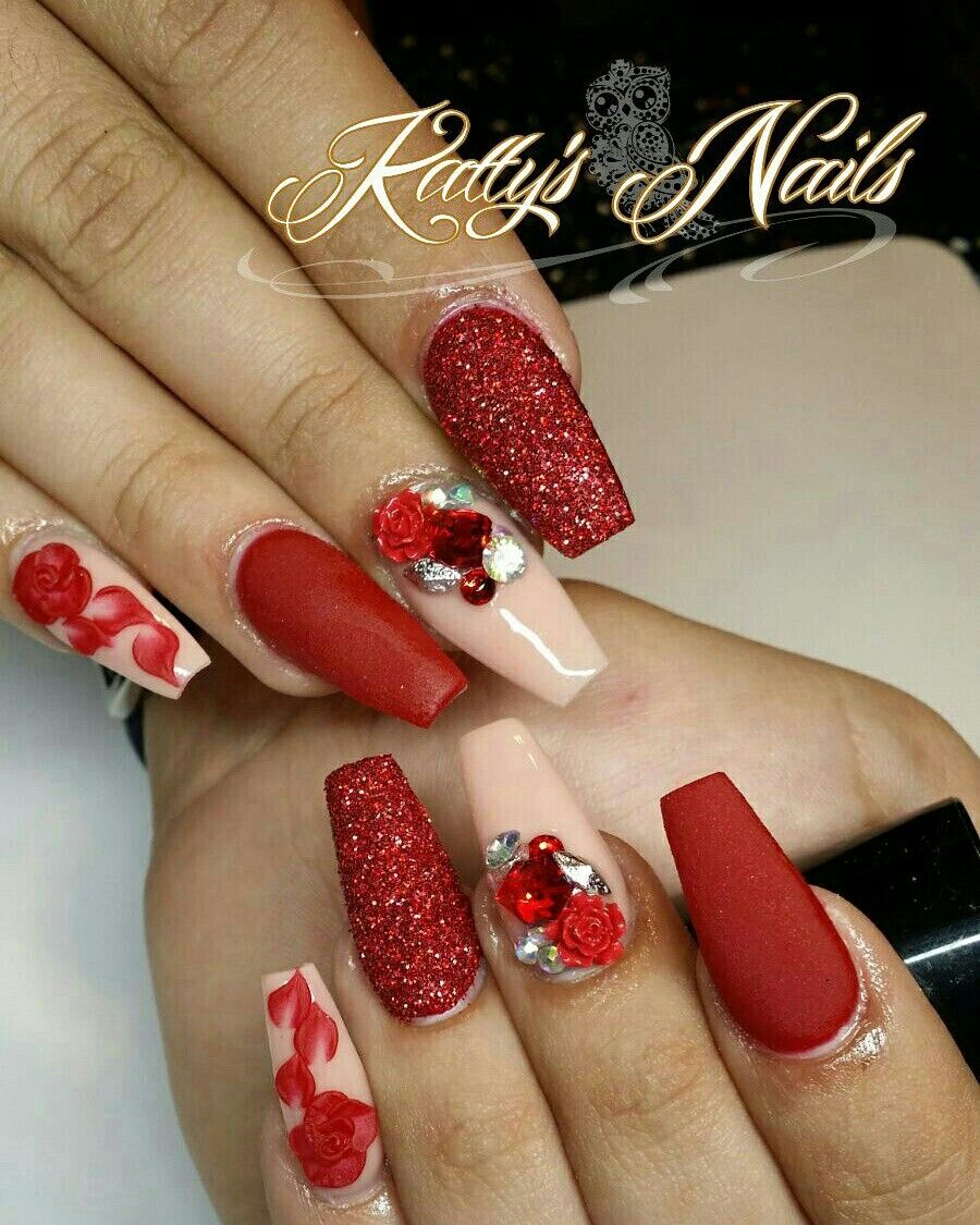 Black NexGen Dip nails with Christmas flower on ring finger by ...