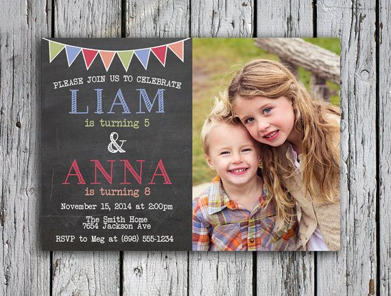 Twins Birthday Invitation Joint Party Invite Friends Double Two Kids Digital File Print
