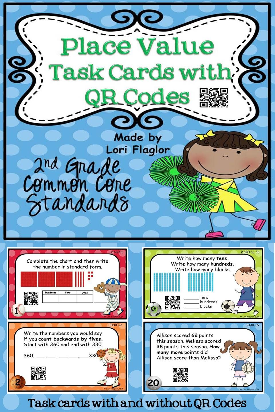 place value task cards qr codes for 2nd grade common core math for second grade 3rd grade. Black Bedroom Furniture Sets. Home Design Ideas