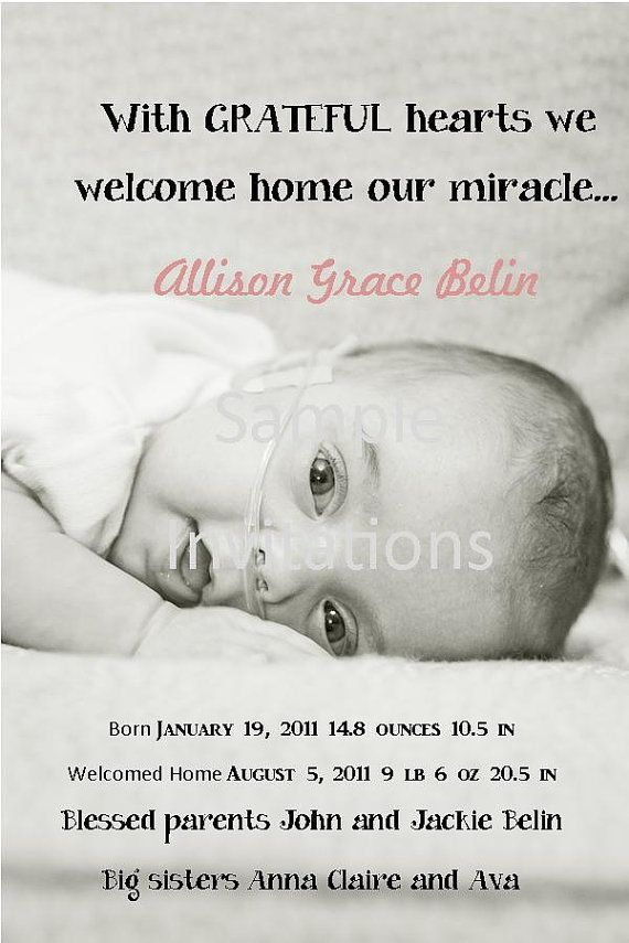 My sweet friends miracle baby girl John and Jackie are great – Preemie Birth Announcements