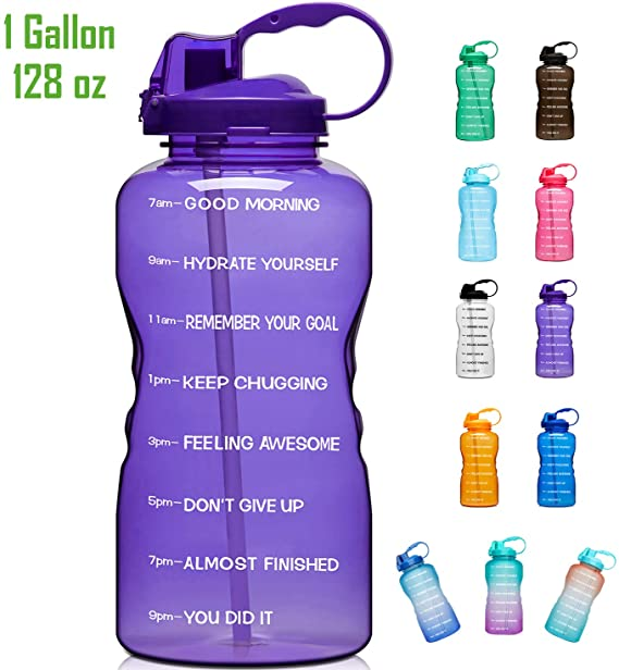 Motivational Water Bottle with Time Marker /& Straw Giotto Large 1 Gallon//128oz
