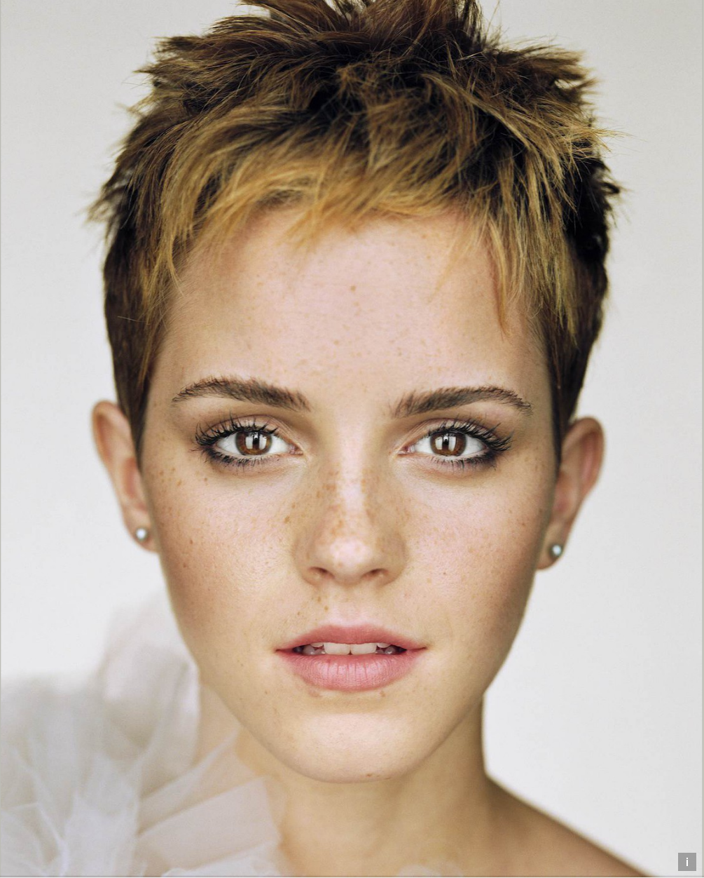 Martin Schoeller's portrait of Emma Watson from his 'Close Up' series.
