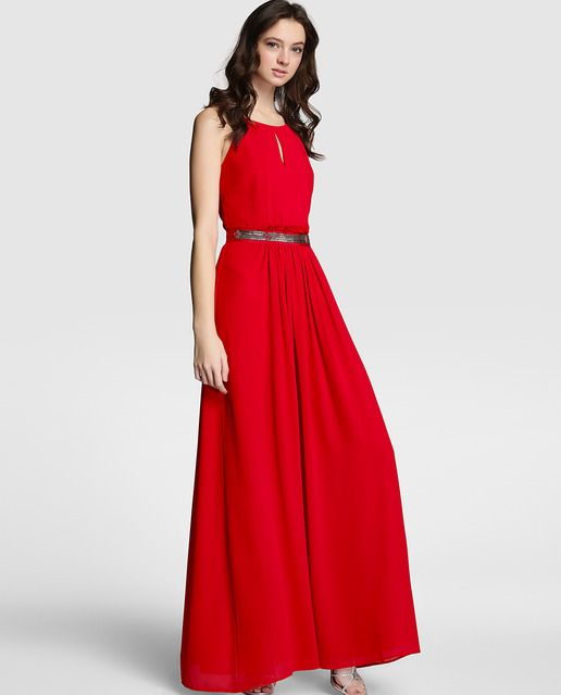 f6acb1da16e Vestido largo de mujer Tintoretto rojo con strass Vestidos Rojos