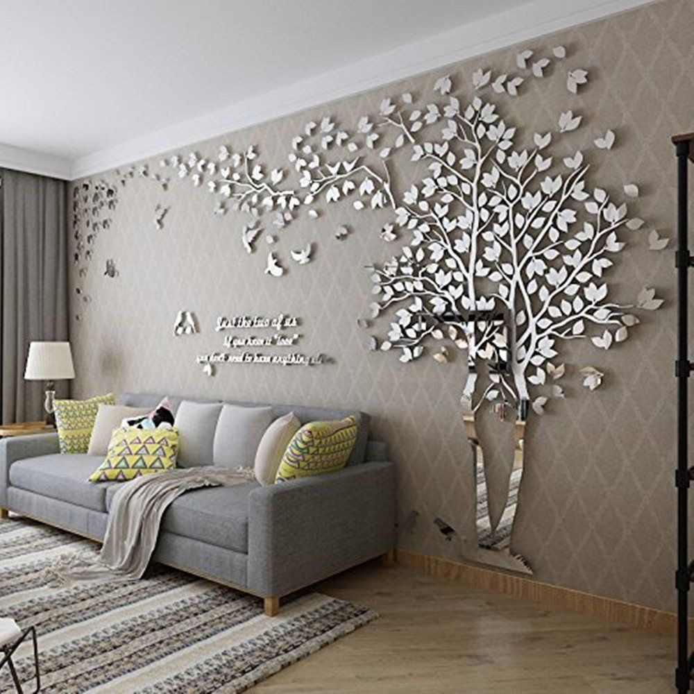 Diy 3d Giant Couple Tree Wall Decals Wall Stickers Crystal Acrylic Wall Decor Arts M Silver Right Wall Decor Living Room Acrylic Wall Decor Room Wall Decor #tree #wall #decal #for #living #room
