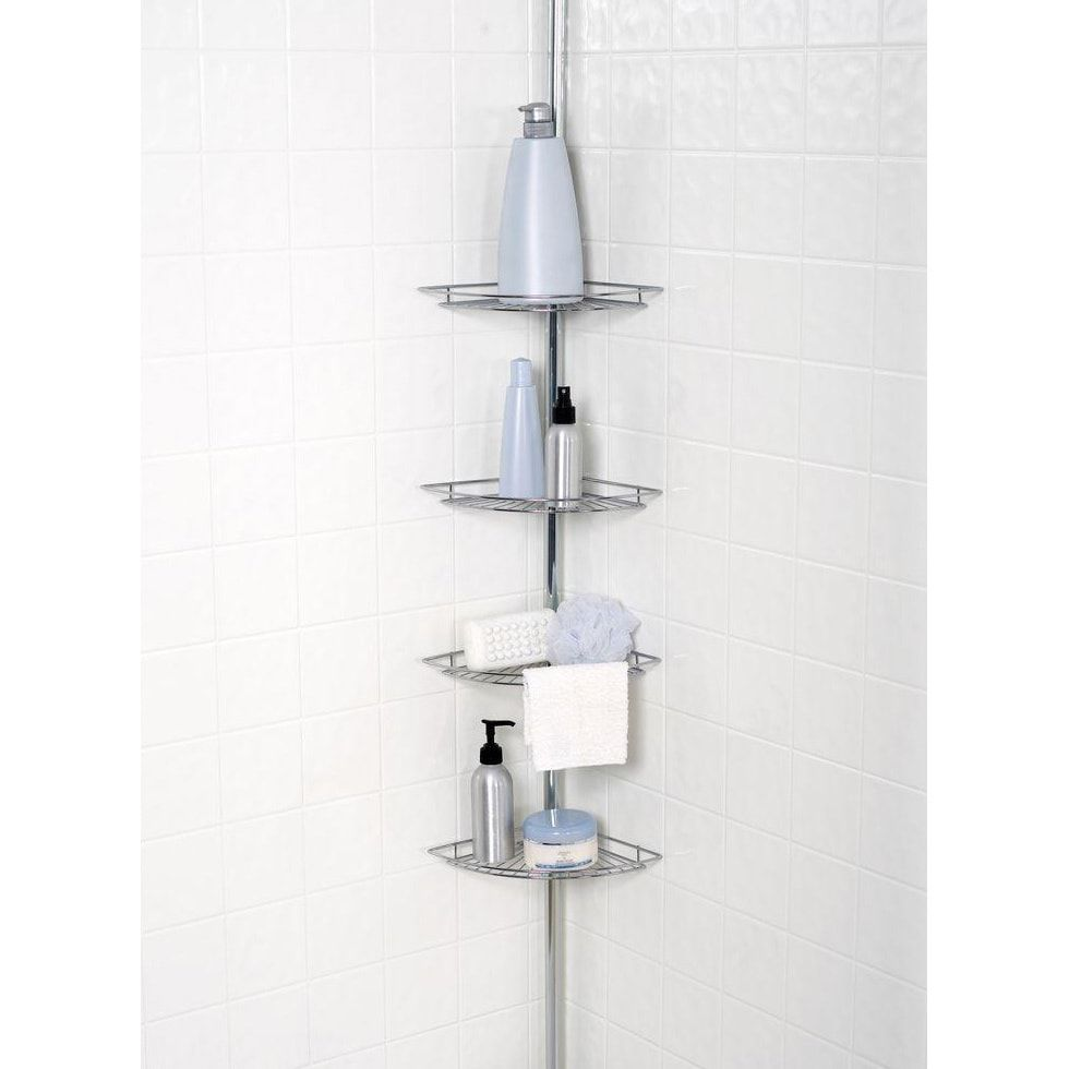 Chrome Plated 4 Tier Tension Pole Corner Shower Caddy As Is Item