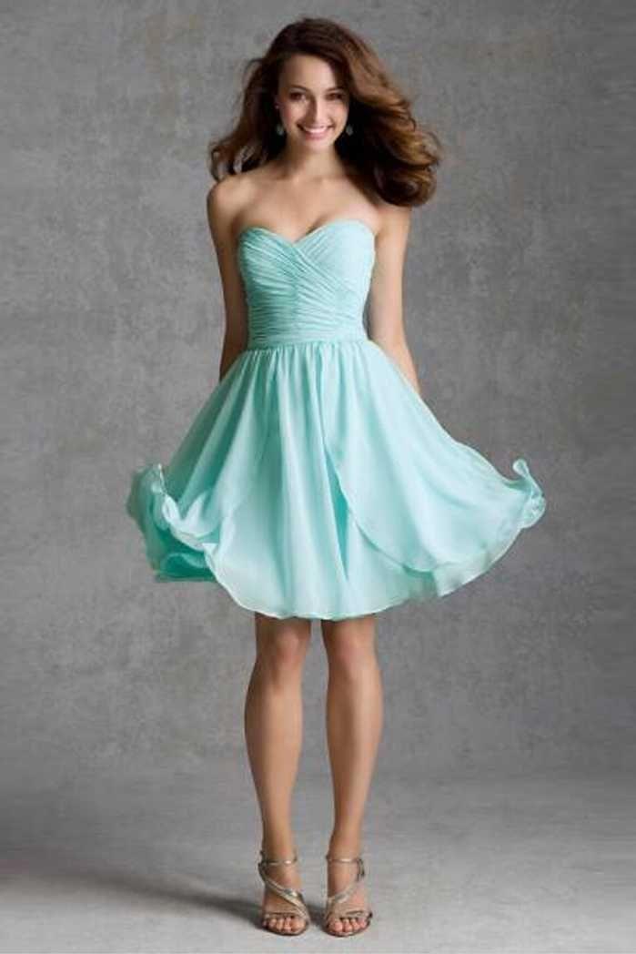 Short Strapless Chiffon Bridesmaid Dresses
