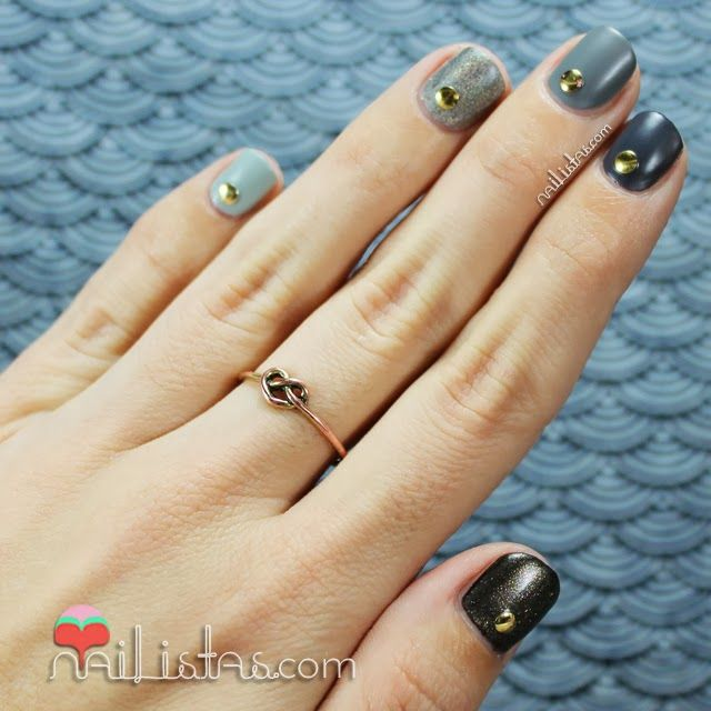 gradient nails with studs nailart uas cortas decoradas con tachuelas y degradado nailistas