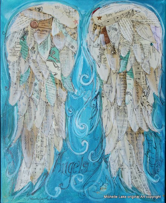 Wings of Love Mixed media original Titled ANGELS 16 x 20 inches. $100.00, via Etsy.