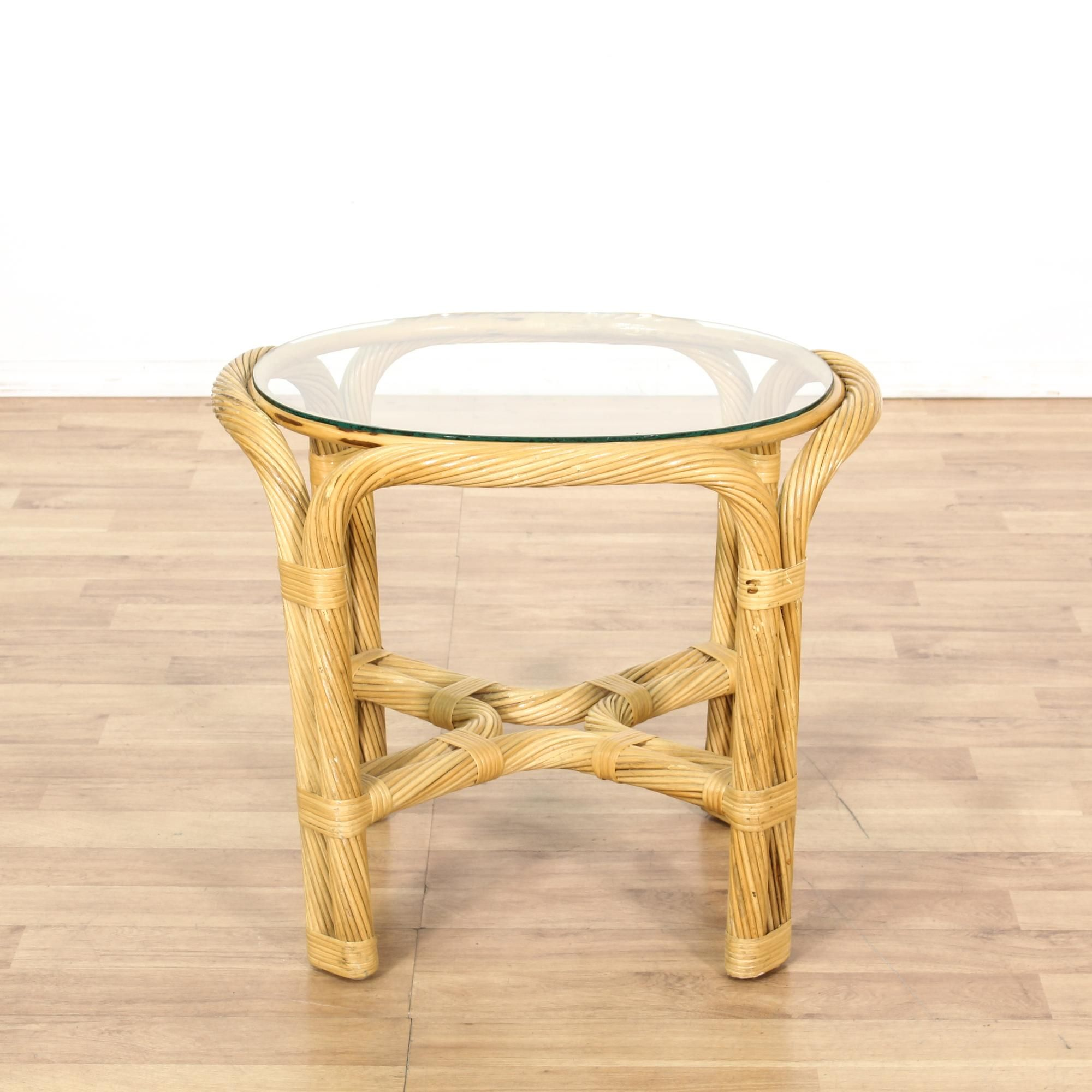 Furniture Legs San Diego small round wicker glass top end table | coastal style, furniture