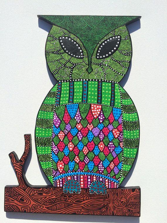 OWL ON BRANCH- aboriginal inspired/zentangle
