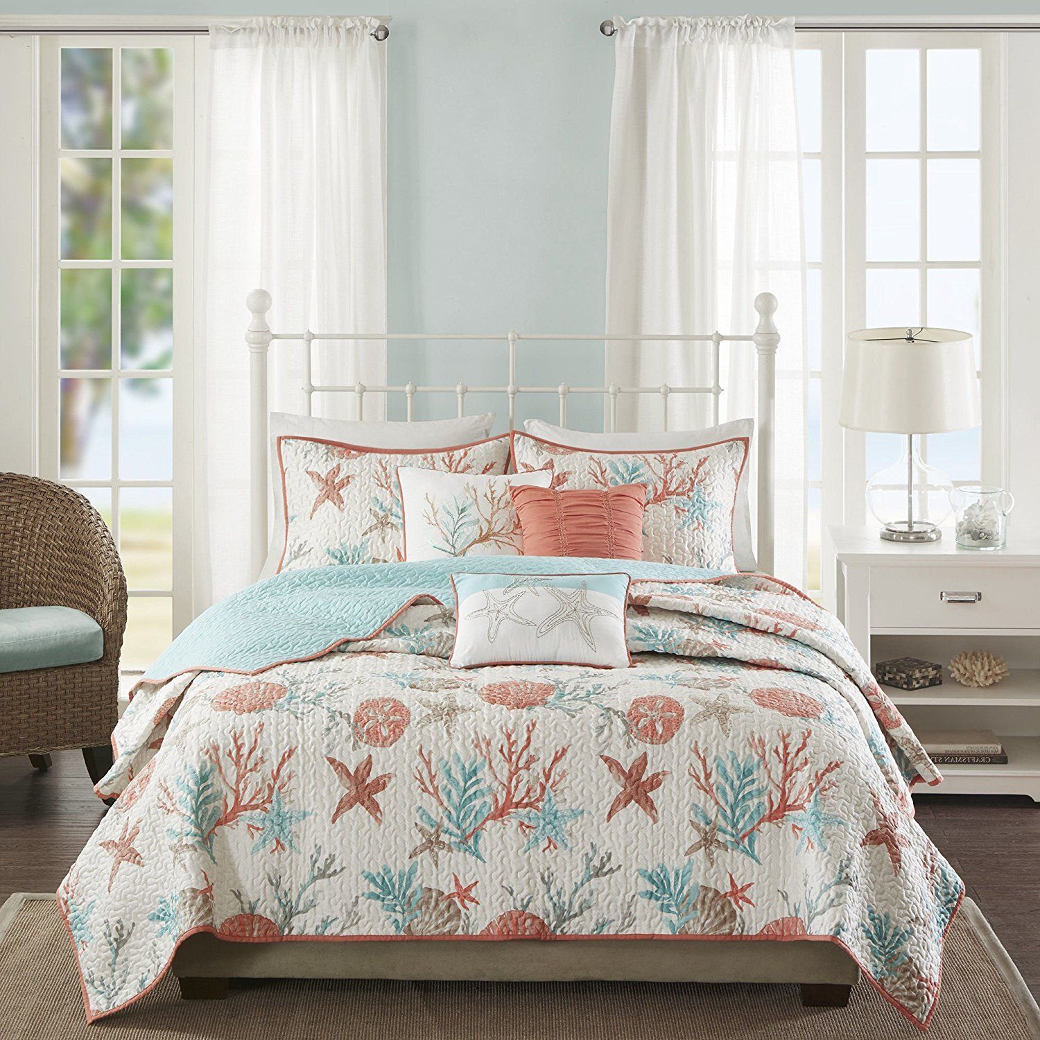 bedroom king comforter sets ideas house furniture themed decor seaside quilts beach bedspreads caribbean
