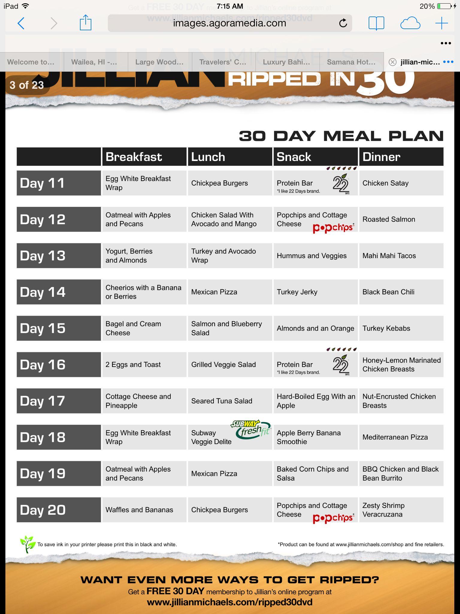jillian michaels 7 day shred dieta plan