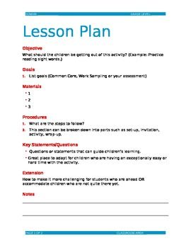 lesson plan template word doc