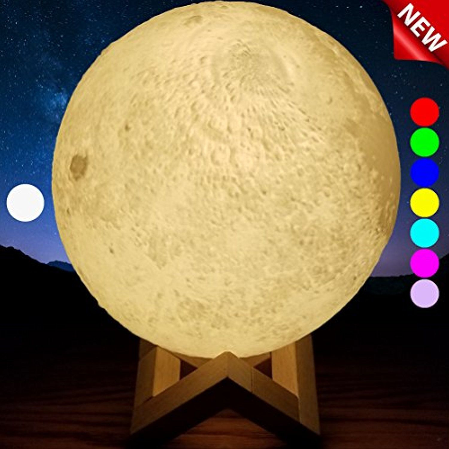 Sensorymoon 3d Printing Moon Lamp Night Light Enchanting 7 Color Changing Up Led Lunar Moonlight Globe Ball With Wood St Night Light Wood Stand Bedroom Decor