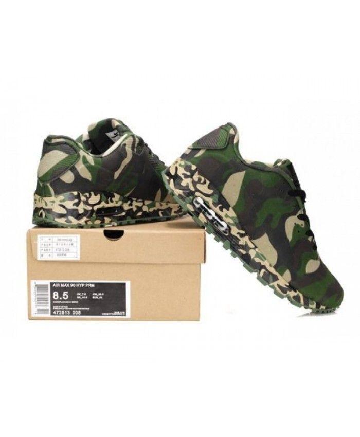 Mens Nike Air Max 90 Green Camo 6809331 167   Shoes   Air
