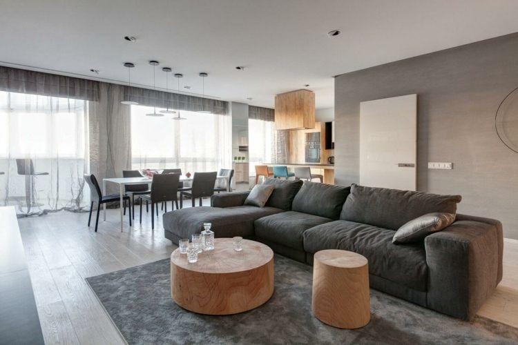 wohnung einrichten in grau sofa-baumstamm-couchtisch | Wohnideen ...