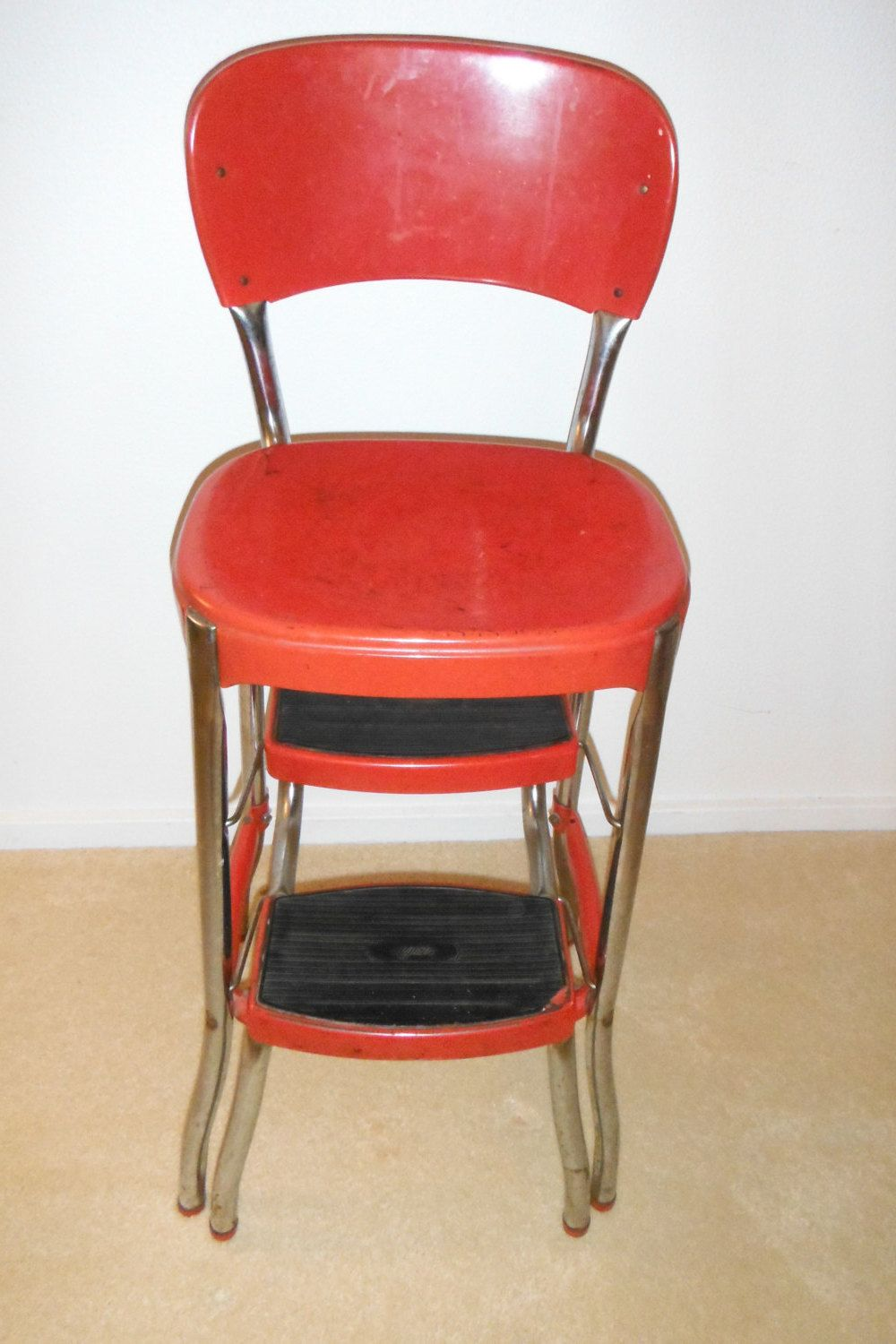 Red Cosco Stylaire Step Stool Chair Vintage Retro 1940 S