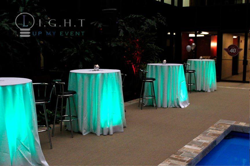 green cocktail table under lighting | Wedding Lighting ...