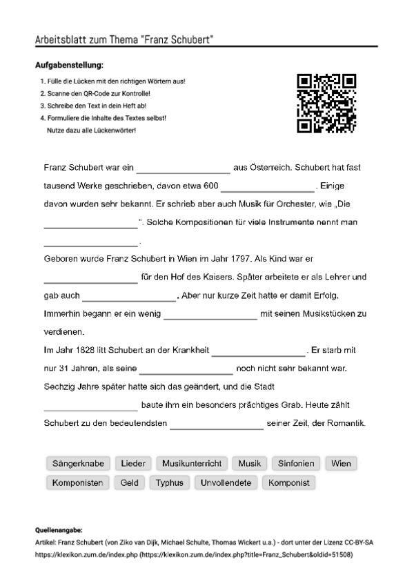 arbeitsblatt mit l ckentext zum thema franz schubert unterricht schule deutsche. Black Bedroom Furniture Sets. Home Design Ideas