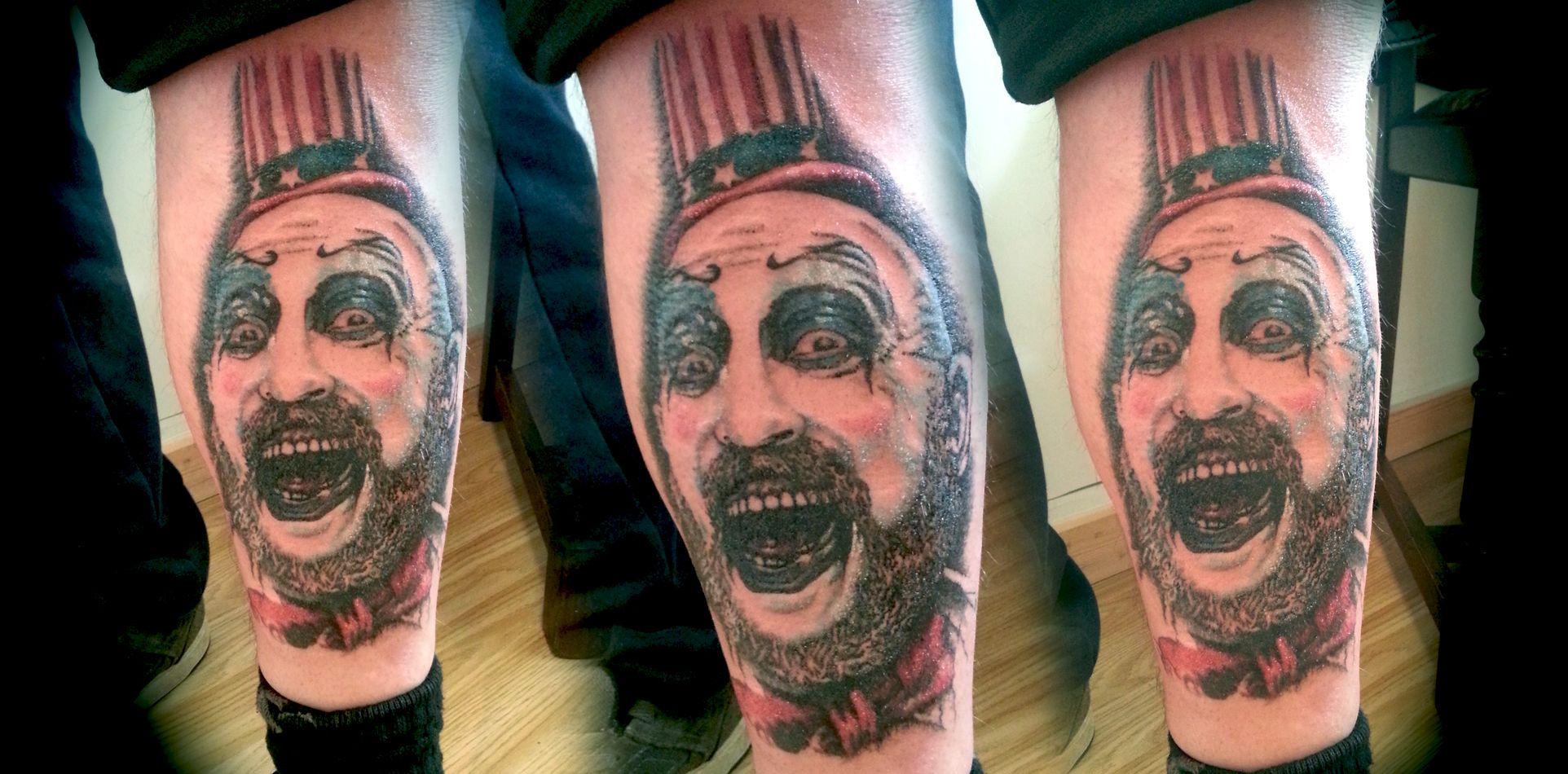 Captain Spaulding tattoo by Jodypig #tattoos #killerink #coverup #blackandgrey #sleeve #unique #art #amazingink #tattooartist #tattooist #tattooer #artistattoos #bright_and_bold #uk #blacktattooart #ink #tattooflash #tattooed #tattoo #blackink #artist #personaltattoos #tattoosleeve #tattooportrait #captainspaulding #superb_tattoo