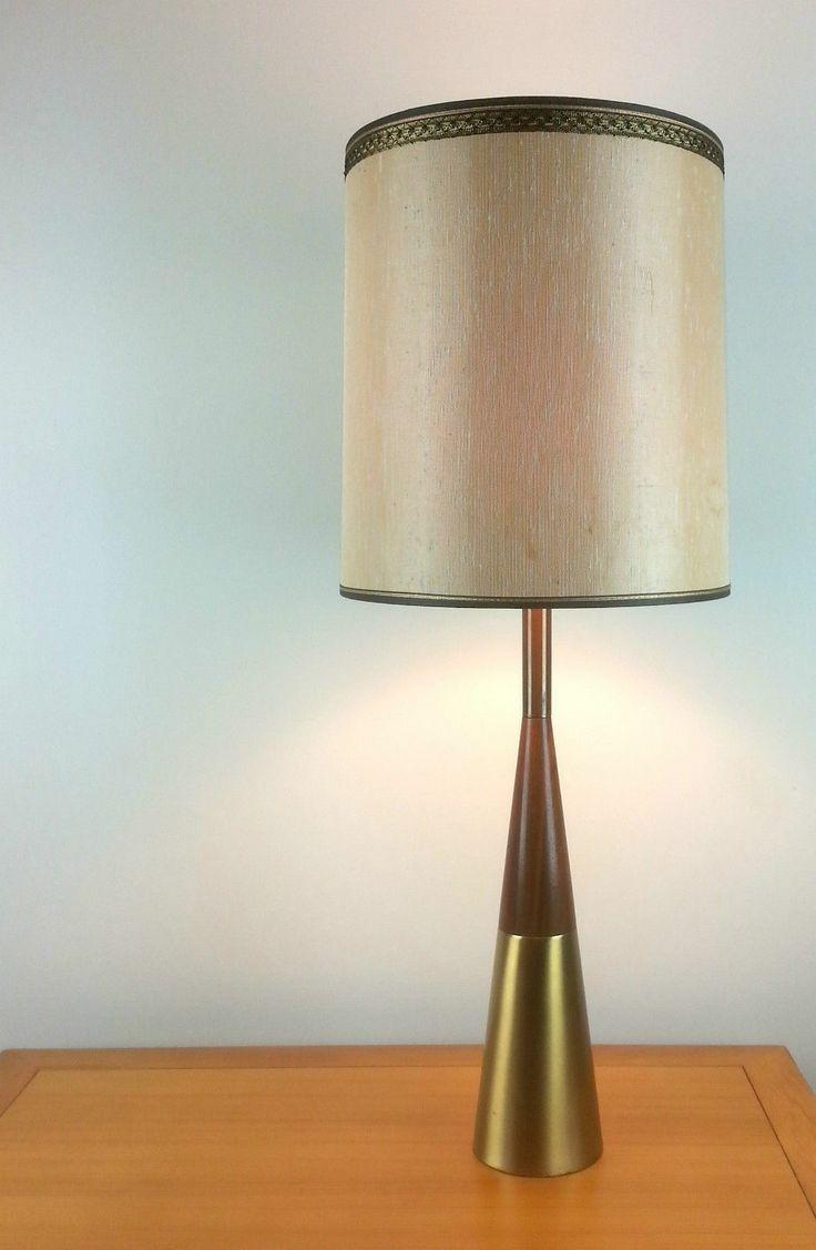 Mid Century Modern   Tony Paul For Westwood Brass Teak Walnut Table Lamp  Vintage