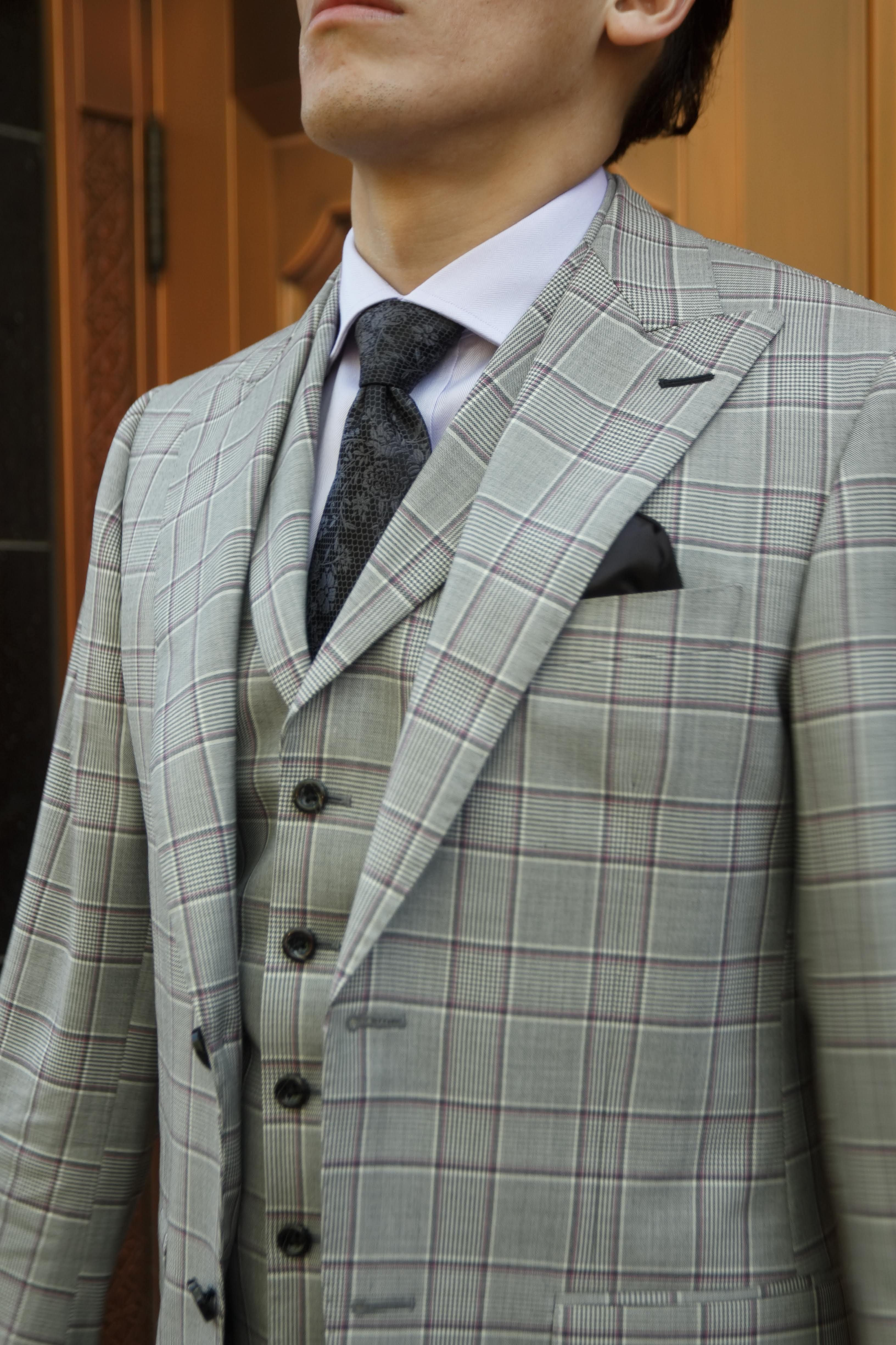 2020 Suit Trends.Mens Grey Purple Plaid Suit Three Piece Bespoke Trends 2020