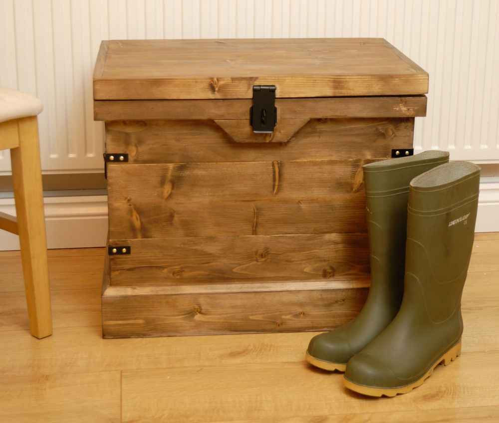 Wooden Chest Trunk Wellington Boot/Shoe Storage Box/Seat Vintage Style  Handmade In Home