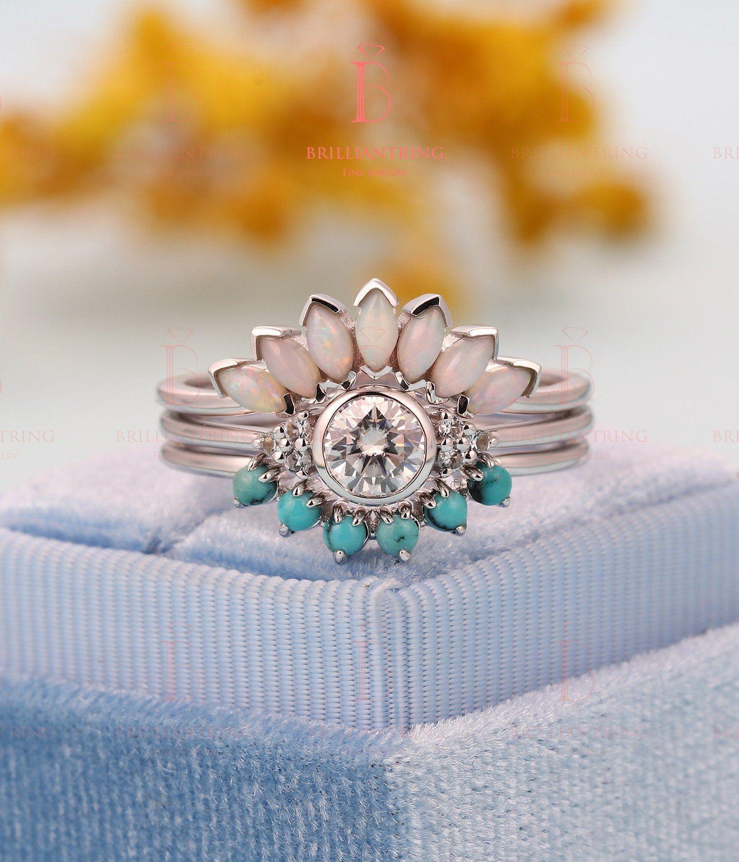 Art deco Moissanite engagement ring Vintage Opal Topaz